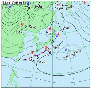 1月19日(木)6時の実況天気図