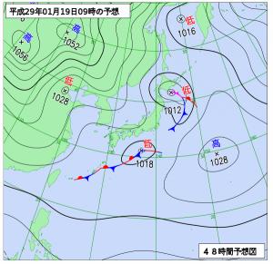 1月19日(木)9時の予想天気図