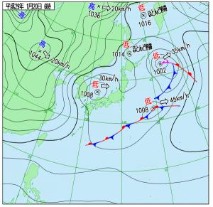 1月20日(金)6時の実況天気図