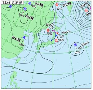 1月22日(日)15時の実況天気図