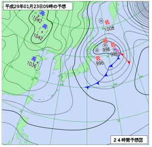 1月23日(月)9時の予想天気図