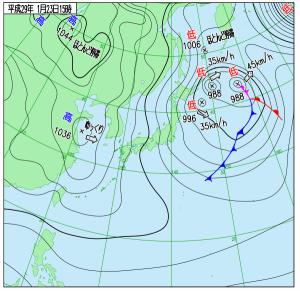 1月23日(月)15時の実況天気図
