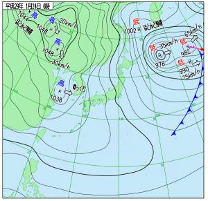 1月24日(火)6時の実況天気図