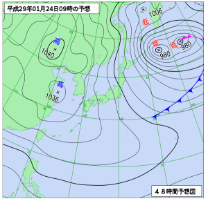 1月24日(火)9時の予想天気図