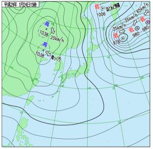 1月24日(火)15時の実況天気図