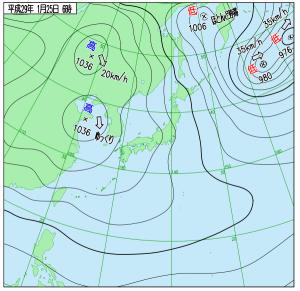 1月25日(水)6時の実況天気図