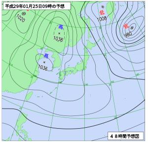 1月25日(水)9時の予想天気図