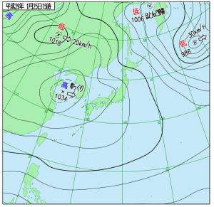 1月25日(水)15時の実況天気図