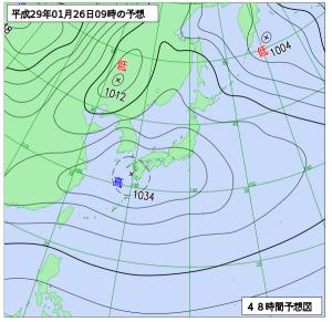 1月26日(木)9時の予想天気図