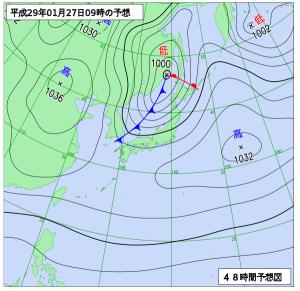 1月27日(金)9時の予想天気図