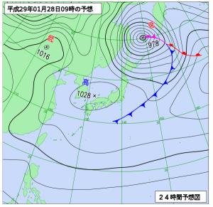 1月28日(土)9時の予想天気図