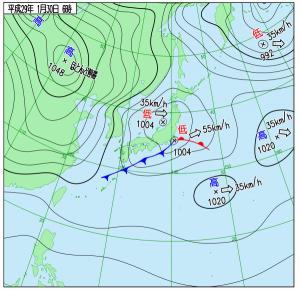 1月30日(月)6時の実況天気図