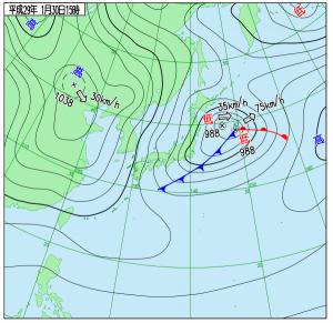 1月30日(月)15時の実況天気図