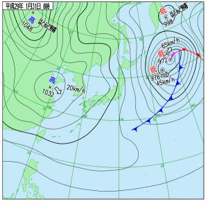 1月31日(火)6時の実況天気図