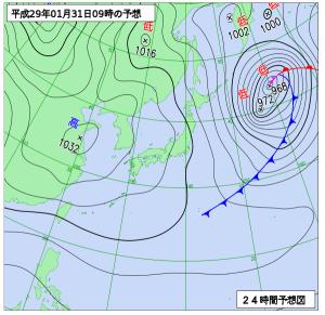 1月31日(火)9時の予想天気図