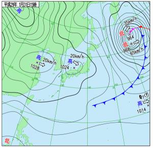1月31日(火)15時の実況天気図