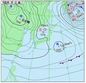 2月1日(水)6時の実況天気図