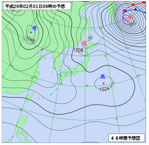 2月1日(水)9時の予想天気図