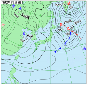 2月2日(木)6時の実況天気図