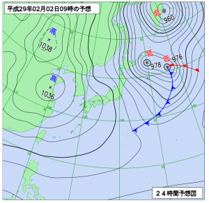 2月2日(木)9時の予想天気図