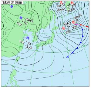 2月2日(木)15時の実況天気図