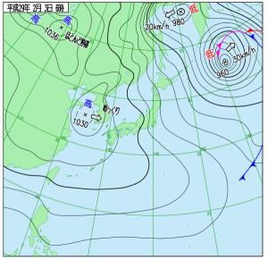 2月3日(金)6時の実況天気図