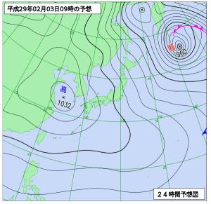 2月3日(金)9時の予想天気図