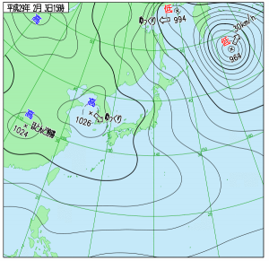2月3日(金)15時の実況天気図