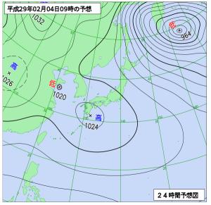 2月4日(土)9時の予想天気図