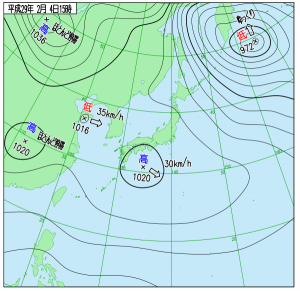 2月4日(土)15時の実況天気図