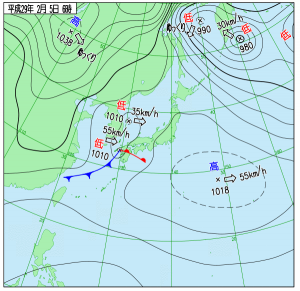 2月5日(日)6時の実況天気図