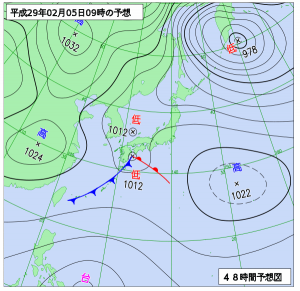 2月5日(日)9時の予想天気図