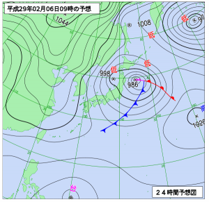 2月6日(月)9時の予想天気図