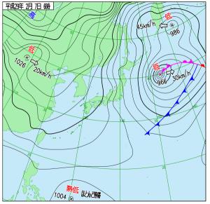 2月7日(火)6時の実況天気図