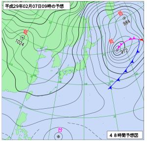 2月7日(火)9時の予想天気図