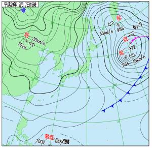 2月7日(火)15時の実況天気図