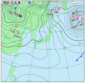 2月8日(水)6時の実況天気図