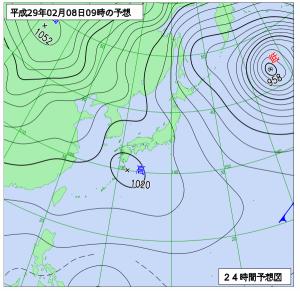 2月8日(水)9時の予想天気図