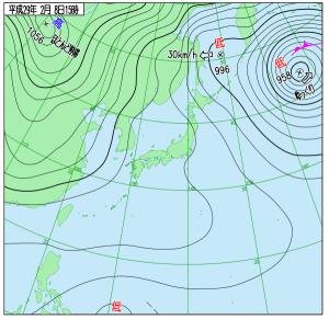 2月8日(水)15時の実況天気図