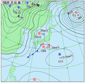 2月9日(木)6時の実況天気図