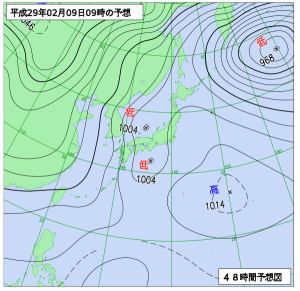 2月9日(木)9時の予想天気図