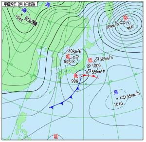 2月9日(木)15時の実況天気図