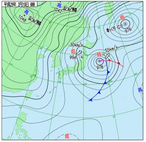 2月10日(金)6時の実況天気図
