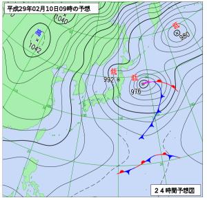 2月10日(金)9時の予想天気図