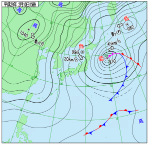 2月10日(金)15時の予想天気図