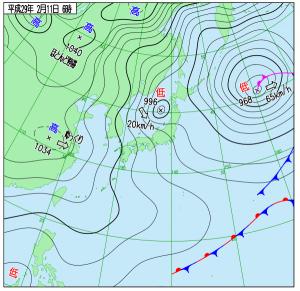2月11日(土)6時の実況天気図