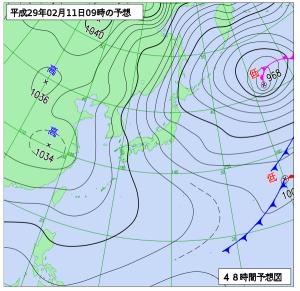 2月11日(土)9時の予想天気図