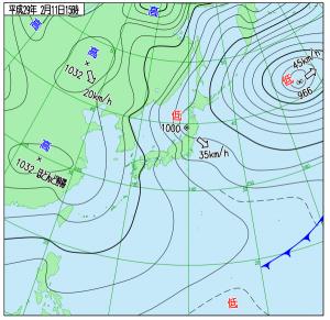 2月11日(土)15時の実況天気図