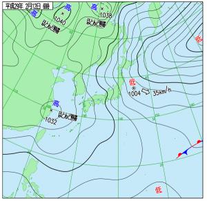 2月12日(日)6時の実況天気図