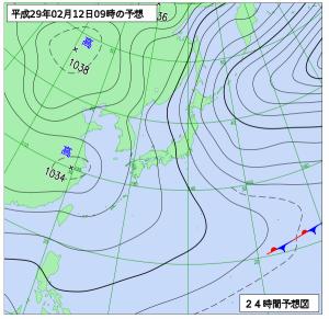 2月12日(日)9時の予想天気図